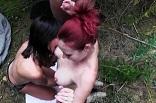 partie-fine dans la forêt avec un couple amateur exhib